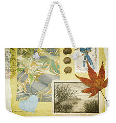 Weekender Tote Bag featuring the mixed media Blue Birds Collage by Jan Bickerton