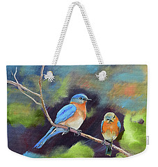 Weekender Tote Bag featuring the painting Blue Birds - Soul Mates by Jan Dappen