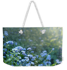 Weekender Tote Bag featuring the photograph Blue Blooms by Gene Garnace