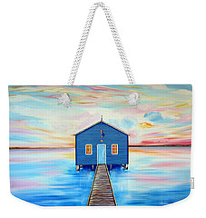 Blue Boat Shed By The Swan River Perth Weekender Tote Bag