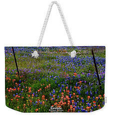 Weekender Tote Bag featuring the photograph Bluebonnets #0487 by Barbara Tristan