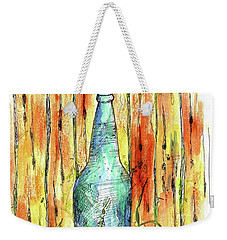 Weekender Tote Bag featuring the painting Blue Bottle by Cathie Richardson