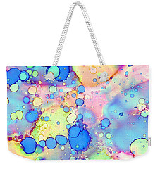Weekender Tote Bag featuring the painting Blue Bubble Gum Pop by Patricia Lintner