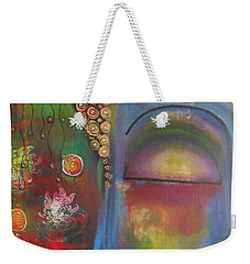 Weekender Tote Bag featuring the painting Buddha In Blue Meditating  by Prerna Poojara