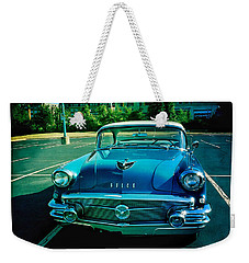 Weekender Tote Bag featuring the mixed media Blue Buick by Terry Rowe