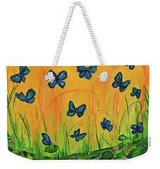 Blue Butterflies In Early Morning Garden Weekender Tote Bag