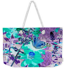 Blue Butterfly And Teal Flowers Weekender Tote Bag
