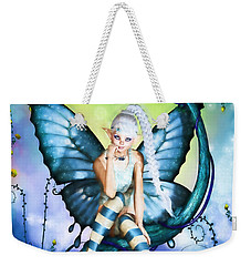 Blue Butterfly Fairy In A Tree Weekender Tote Bag