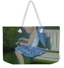 Blue Butterfly Girl Weekender Tote Bag