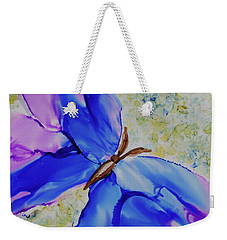 Weekender Tote Bag featuring the painting Blue Butterfly by Joanne Smoley