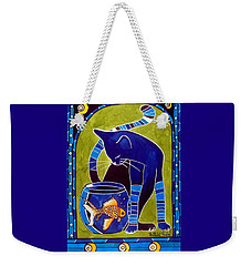Weekender Tote Bag featuring the painting Blue Cat With Goldfish by Dora Hathazi Mendes