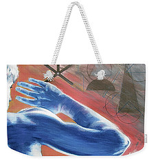 Weekender Tote Bag featuring the painting Blue Celestial  by Rene Capone
