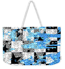 Blue Checker Skull Splatter Weekender Tote Bag