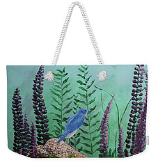 Blue Chickadee Standing On A Rock 1 Weekender Tote Bag