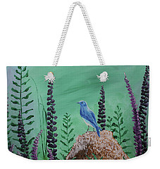 Blue Chickadee Standing On A Rock 2 Weekender Tote Bag