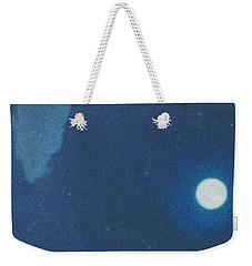 Blue Cloudy Moon Weekender Tote Bag