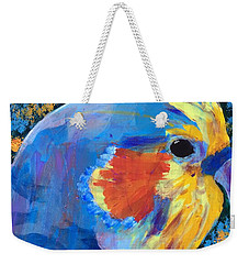 Weekender Tote Bag featuring the painting Blue Cockatiel by Donald J Ryker III