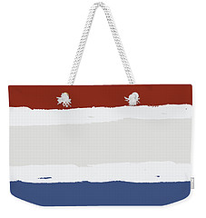 Blue Cream Red Stripes Weekender Tote Bag