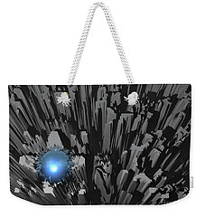 Weekender Tote Bag featuring the digital art Blue Diamond In The Rough by Phil Perkins