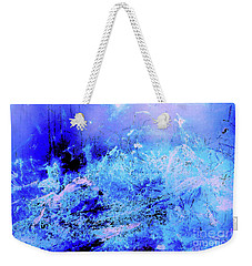 Blue Digital Artwork With Dots And Stripes And Sandstone Finish Weekender Tote Bag