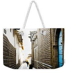 Blue Door In Cusco Weekender Tote Bag by Darcy Michaelchuk