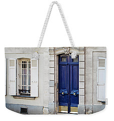 Weekender Tote Bag featuring the photograph Blue Door - Paris, France by Melanie Alexandra Price