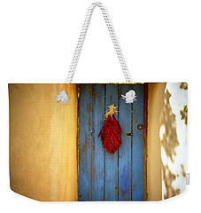 Blue Door With Chiles Weekender Tote Bag by Joseph Frank Baraba