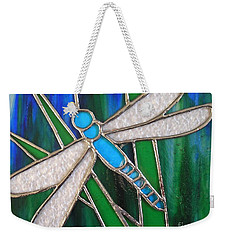 Blue Dragonfly On Reeds With Bluey Green Background Weekender Tote Bag
