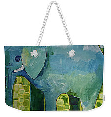 Weekender Tote Bag featuring the painting Blue Elephant by Donna Howard