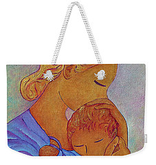 Weekender Tote Bag featuring the painting Blue Embrace by Gioia Albano