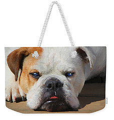 Blue-eyed English Bulldog - Painting Weekender Tote Bag