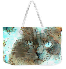 Blue Eyed Persian Cat Watercolor Weekender Tote Bag