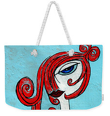 Blue Eyed Redhead In Green Dress Weekender Tote Bag by Genevieve Esson