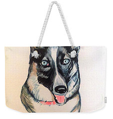 Weekender Tote Bag featuring the painting Blue Eyes by Stacy C Bottoms