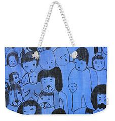 Blue Faces Weekender Tote Bag by Maria Iliou