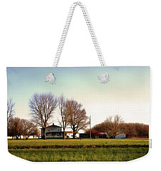 Weekender Tote Bag featuring the photograph Blue Farmhouse by Spyder Webb