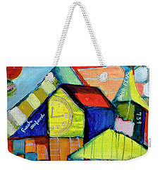 Weekender Tote Bag featuring the painting Blue Fin's Fresh Seafood by Susan Stone