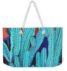 Blue Flame Cactus Acrylic Weekender Tote Bag by M Diane Bonaparte