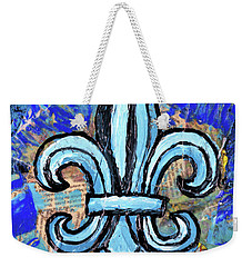 Weekender Tote Bag featuring the mixed media Blue Fleur De Lis by Genevieve Esson