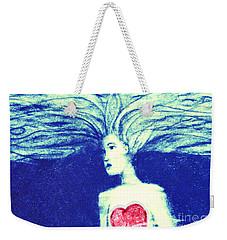 Blue Floating Heart Weekender Tote Bag
