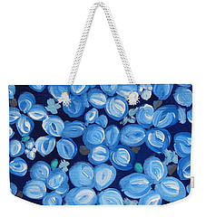Blue Floral Frenzy Weekender Tote Bag