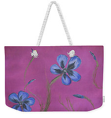 Blue Flower Magenta Background Weekender Tote Bag
