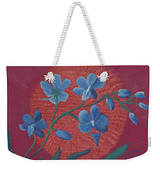 Blue Flower On Magenta Weekender Tote Bag