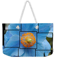 Blue Flower Photo Sculpture  Butchart Gardens  Victoria Bc Canada Weekender Tote Bag by Michael Bessler