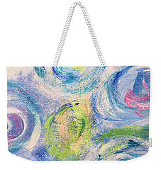 Weekender Tote Bag featuring the painting Blue Flowers - Abstract Painting by Cristina Stefan