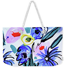 Blue Flowers And Coffee Cup Weekender Tote Bag by Amara Dacer