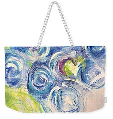 Weekender Tote Bag featuring the painting Blue Flowers In A Vase - Painting by Cristina Stefan