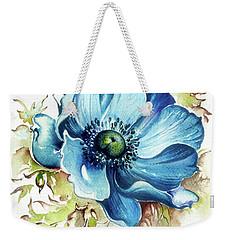 Weekender Tote Bag featuring the painting Blue Gem by Anna Ewa Miarczynska