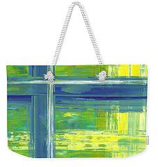 Blue Geometric Yellow Weekender Tote Bag