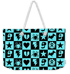Blue Goth Punk Checkers Weekender Tote Bag